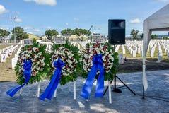 在克拉克公墓的2018 VFW服务,菲律宾 免版税库存图片