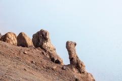在克拉夫拉火山火山的岩石 库存图片