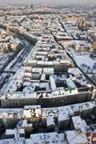 在克拉科夫之上下了雪 免版税库存图片