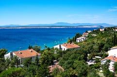 在克罗地亚的北部亚得里亚海海岸的度假区 库存图片