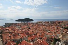 在克罗地亚,欧洲打开杜布罗夫尼克市看法  图库摄影
