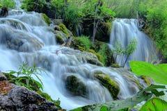 在克罗地亚` s普利特维采湖群国家公园的瀑布 免版税库存照片