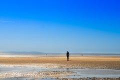 在克罗斯比海滩的雕塑,另一个地方安东尼Gormley 免版税图库摄影