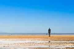 在克罗斯比海滩的雕塑,另一个地方安东尼Gormley 库存照片