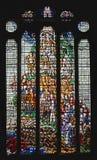 在克赖斯特切奇大厅休息的壮观的污迹玻璃窗 免版税图库摄影