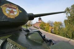 在克里姆林宫的坦克在下诺夫哥罗德 免版税库存照片