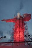 在克里斯多Luz复合体的有启发性基督雕象与发生的修理- Balneario Camboriu,圣卡塔琳娜州,巴西 库存图片