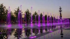 在克里米亚半岛堤防的喷泉,莫斯科,俄罗斯 免版税库存照片