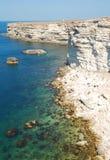 在克里米亚半岛海岸的微小的海湾 图库摄影