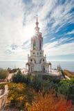 在克里米亚半岛海岸的灯塔 免版税库存照片