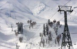 在克什米尔,印度的滑雪电缆车 图库摄影