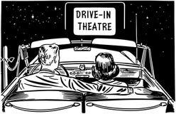 在免下车服务剧院的夫妇 免版税库存照片