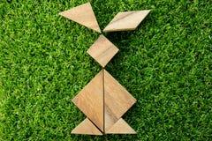 在兔子形状的木七巧板难题在人为绿草 库存图片
