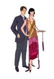 在党的夫妇 男人和妇女葡萄酒样式20世纪20年代 画象 免版税图库摄影