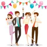 在党的男人和妇女乐趣与饮料 免版税库存照片
