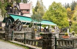 在入口的两杆枪对在Pelesh城堡附近的酒吧豪华锡纳亚,位于罗马尼亚 库存照片