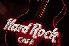在入口的吉他。硬石餐厅 免版税库存照片