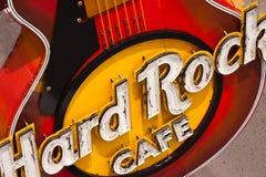 在入口的吉他。硬石餐厅 库存图片