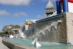 在入口的喷泉对Hammond体育场 图库摄影