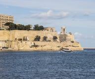 在入口的堡垒圣Elmo对盛大港口在马耳他的瓦莱塔 免版税库存图片