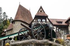 在入口的枪对在Pelesh城堡附近的酒吧豪华锡纳亚,位于罗马尼亚 图库摄影