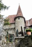 在入口的枪对在Pelesh城堡附近的酒吧豪华锡纳亚,位于罗马尼亚 免版税库存照片