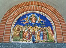 在入口的肖象画法对东正教在诺维萨德,塞尔维亚 库存图片