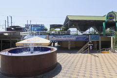 在入口附近的喷泉对海滩`海豚`在度假圣地爱德乐,索契 免版税库存图片