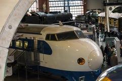 在全国交通博物馆的日本高速火车在约克,约克夏英国 图库摄影