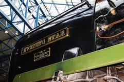 在全国交通博物馆的火车在约克,约克夏英国 库存图片