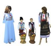 在全国传统巴尔干的时装模特,摩尔达维亚,罗马尼亚语 免版税库存照片