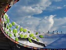 在全国体育场的2015年国际田联世界竞技冠军在有蓝天和白色云彩的北京 库存图片