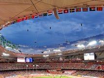在全国体育场的2015年国际田联世界竞技冠军在黄昏的北京 库存图片
