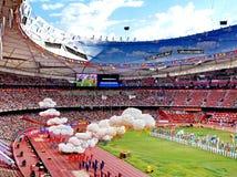 在全国体育场的2015年国际田联世界竞技冠军开幕式在北京 免版税库存图片