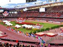 在全国体育场的2015年国际田联世界竞技冠军开幕式在北京 免版税库存照片