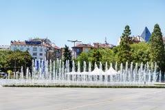 在全国劳动人民文化宫前面的喷泉,索非亚,保加利亚 免版税库存照片