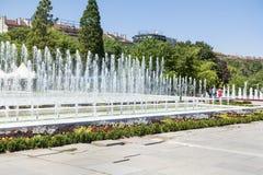 在全国劳动人民文化宫前面的喷泉,索非亚,保加利亚 免版税图库摄影
