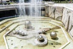 在全国劳动人民文化宫前面的喷泉,索非亚,保加利亚 免版税库存图片