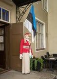 在全国服装的被充塞的玩偶在纪念品商店之外 图库摄影