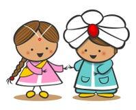 在全国礼服的印地安人 一个男孩和一个女孩传统服装的 乱画漫画人物 免版税库存图片