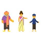 在全国礼服A男人和一名妇女的印地安人传统服装的 漫画人物儿童五颜六色的图象例证 免版税图库摄影