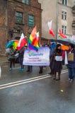 在全国美国独立日的Tolerado LGBT组织在格但斯克在波兰 庆祝独立第99周年  免版税库存图片