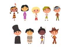 在全国衣裳、男孩和女孩卡通人物的孩子传统服装的美洲印第安人,日语 皇族释放例证