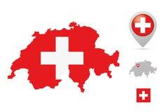 在全国颜色、旗子和标志的瑞士地图 免版税图库摄影