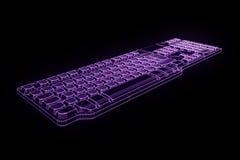 在全息图Wireframe样式的个人计算机键盘 好的3D翻译 免版税库存照片
