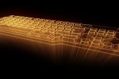 在全息图Wireframe样式的个人计算机键盘 好的3D翻译 库存照片