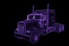 在全息图Wireframe样式的卡车汽车 好的3D翻译 免版税库存照片