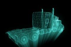 在全息图Wireframe样式的卡车汽车 好的3D翻译 免版税图库摄影