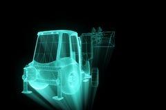 在全息图Wireframe样式的挖掘机 好的3D翻译 库存照片