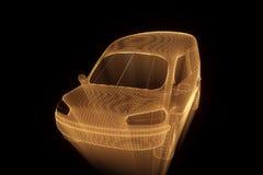 在全息图Wireframe样式的运输汽车 好的3D翻译 库存图片